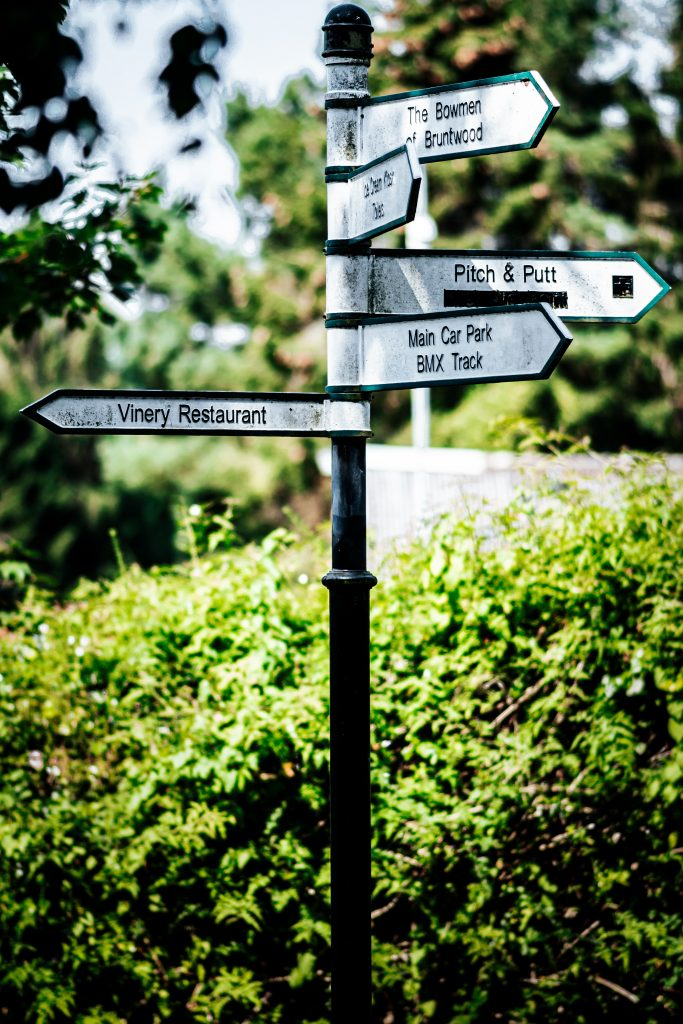 Sign post with multiple directions you can go to signify what you need to do to change your destiny