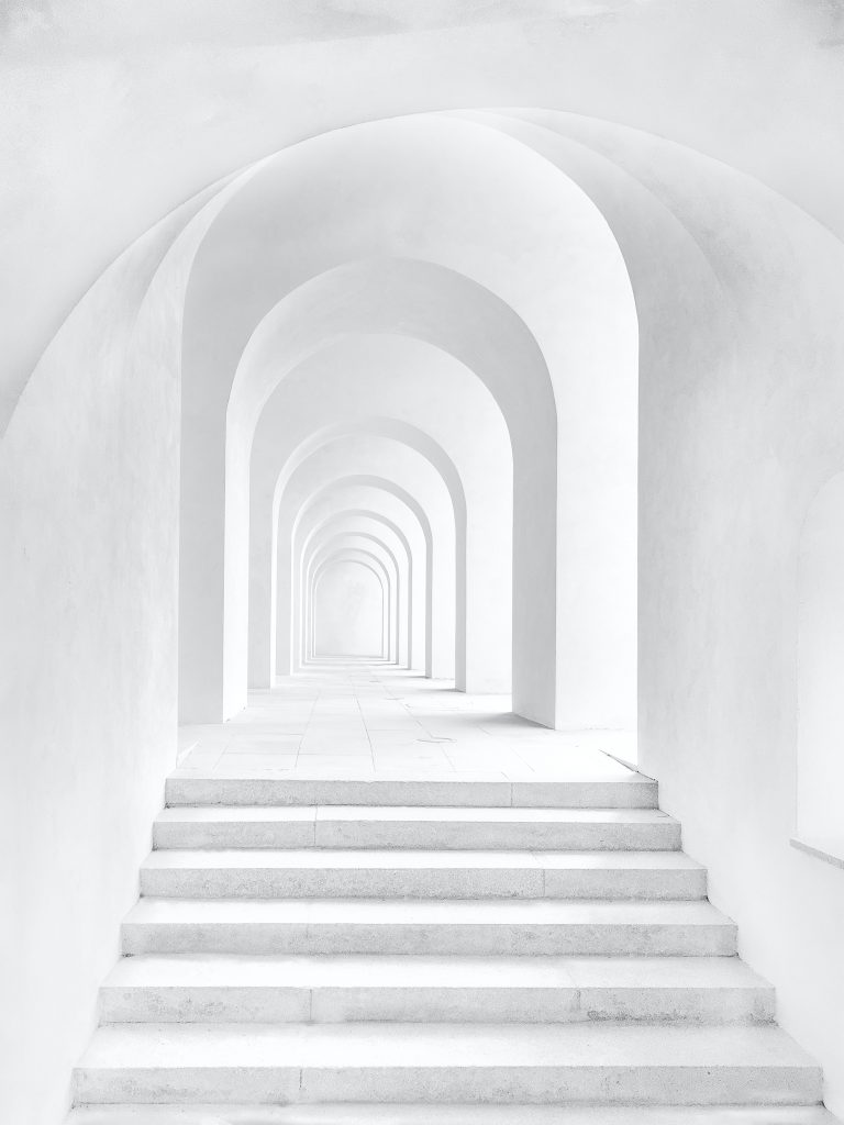 White steps and archway you need to walk to change your destiny