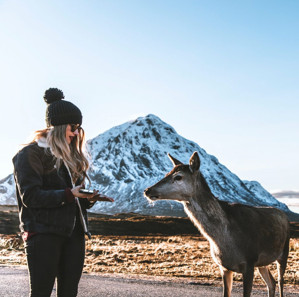 Woman standing in the middle of nowhere with a goat to change your destiny
