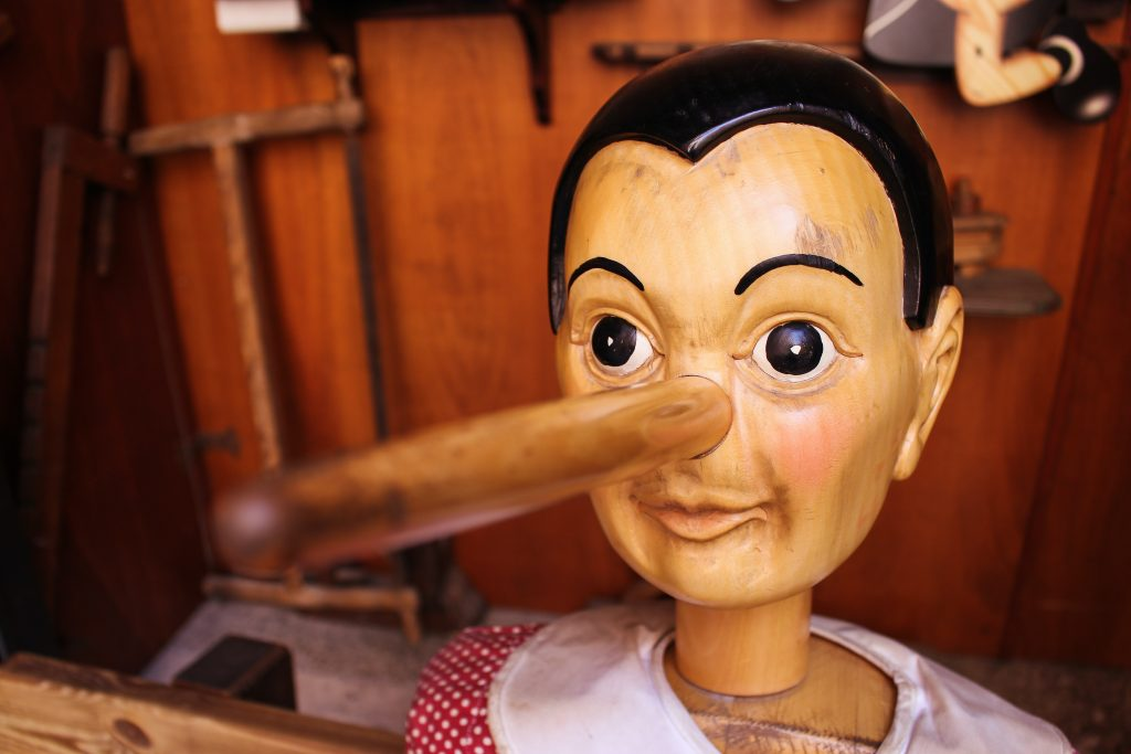 Female pinnochio lying to herself and others how not to take on responsibility