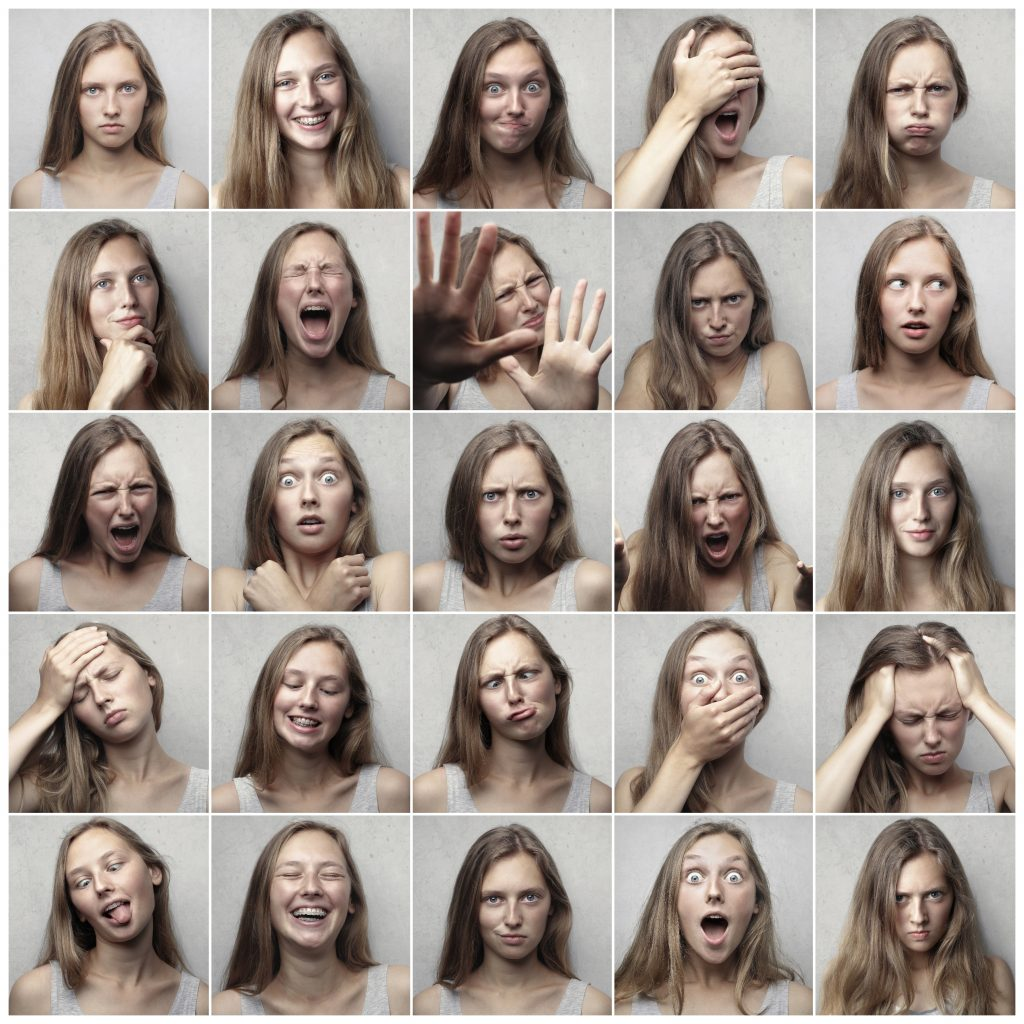 Woman displaying different emotions in different photos to show the importance of balanced emotions when making life choices