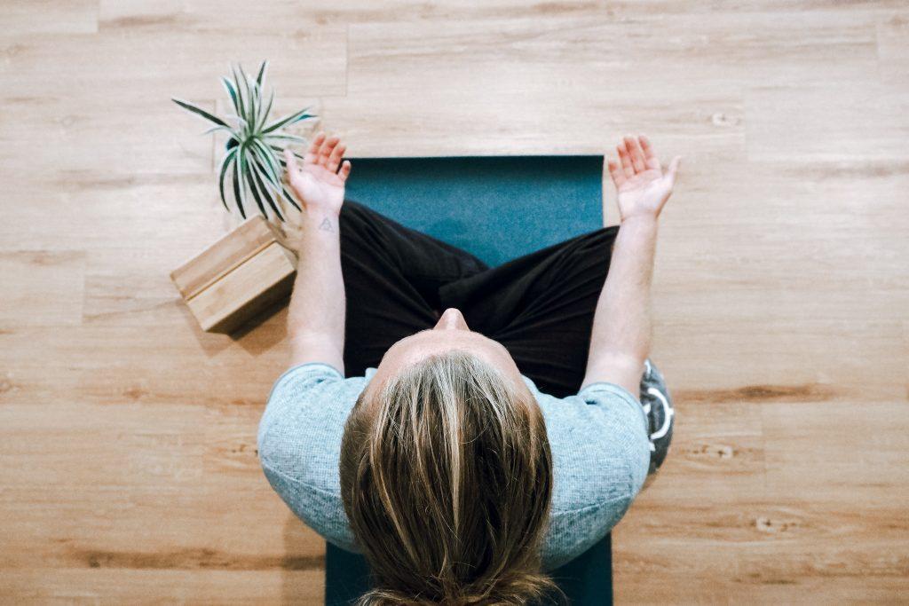 Woman sitting meditation and exercising mindfulness