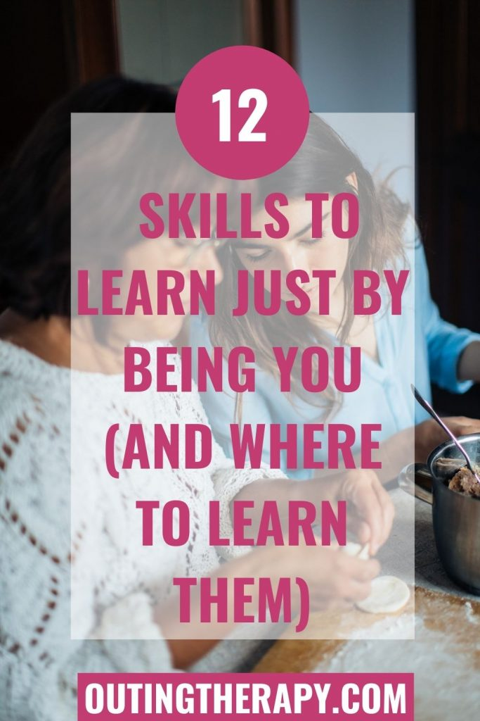 Skills to learn: Daughter peering over mothers shoulder to learn a new skill